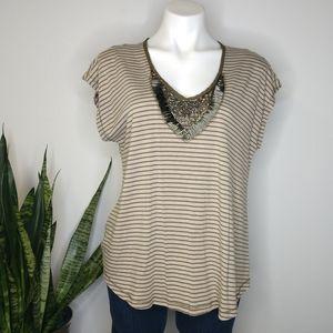 Bellatrix brown striped embellished t-shirt size M